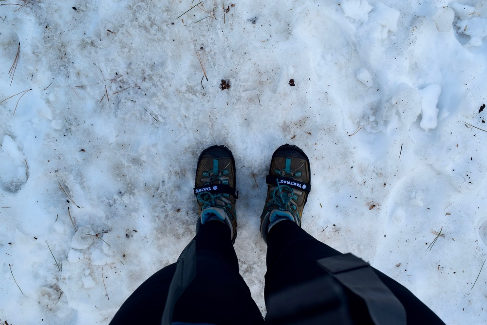 Yaktrax pro were lifesavers on this hike - basically everyone we passed was slipping and sliding on the ice and snow, we were walking normally!