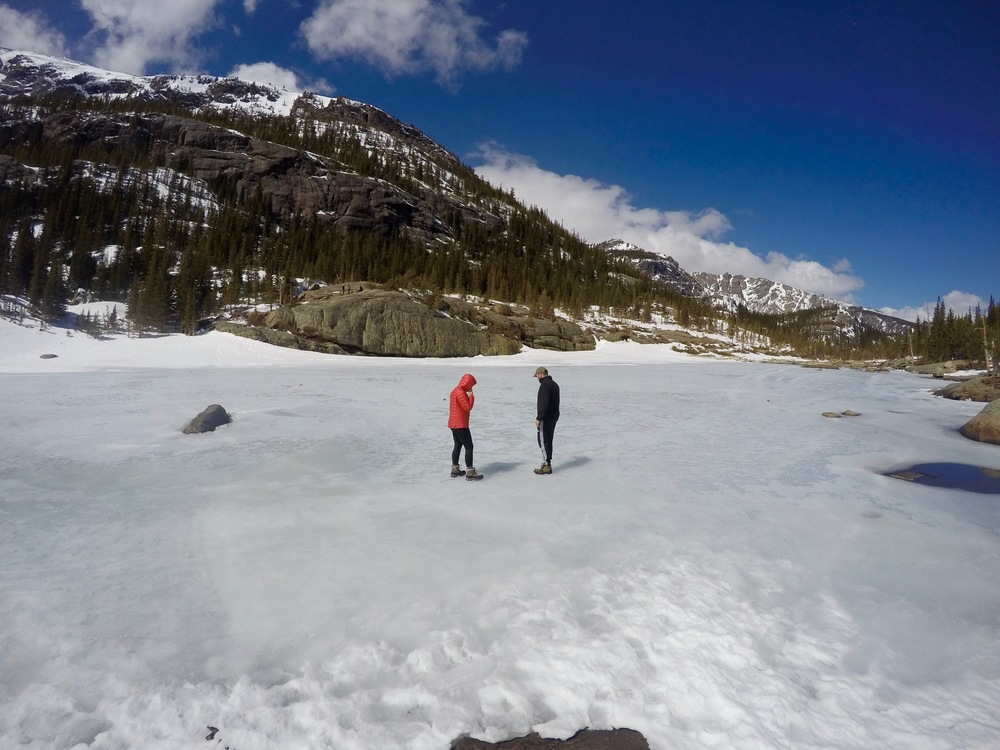 """""""WHAT WAS THAT?!"""" There were pieces of ice blowing across the lake in the high winds that made it sound like cracks."""