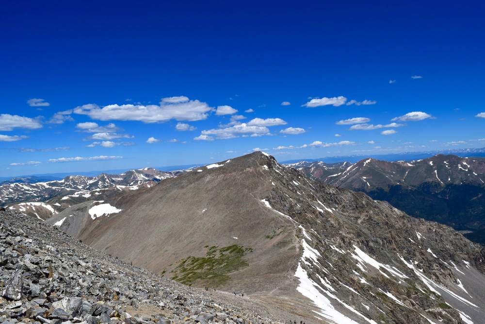 Just a few hundred vertical feet from the summit of Grays, looking across to Torreys.