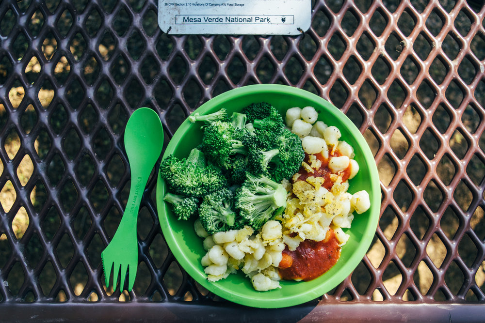 Gnocchi, marinara, and steamed broccoli - it's gettin' fancy in our camp kitchen!