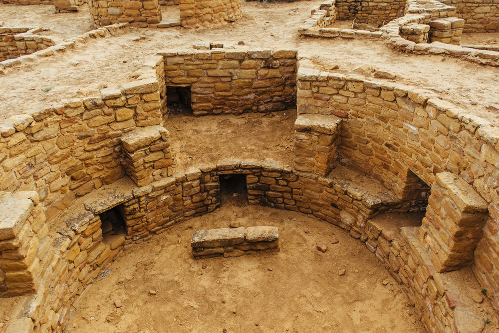 A great look at a Kiva, with the deflection stone and fresh air chute in plain view.