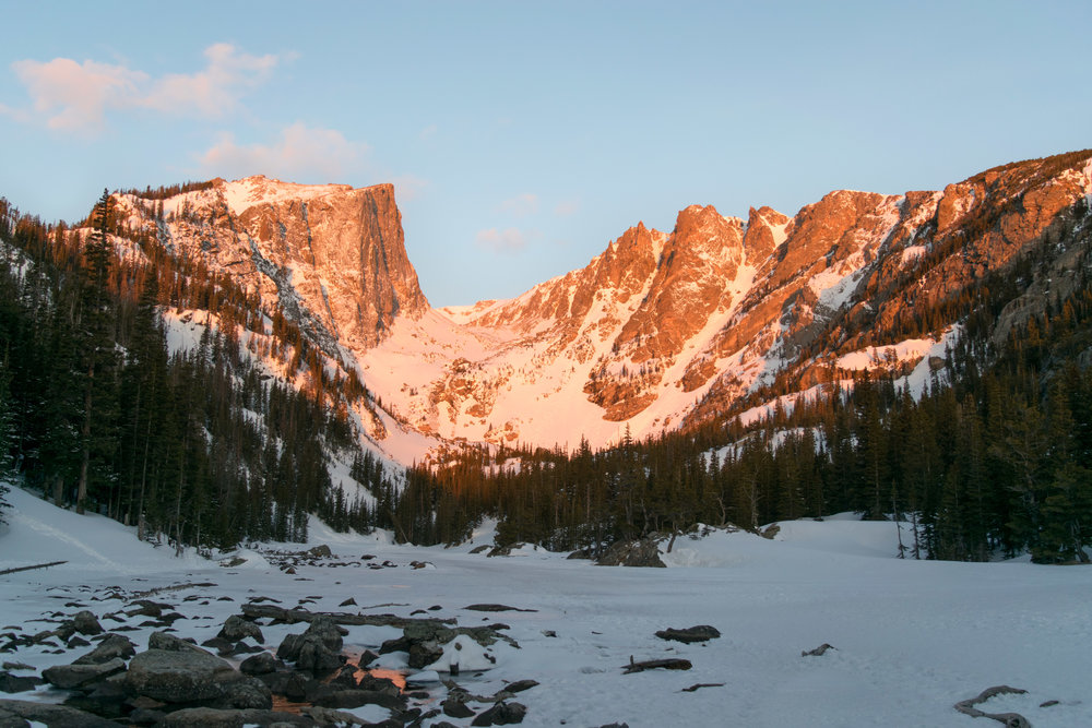 Alpenglow from Dream Lake