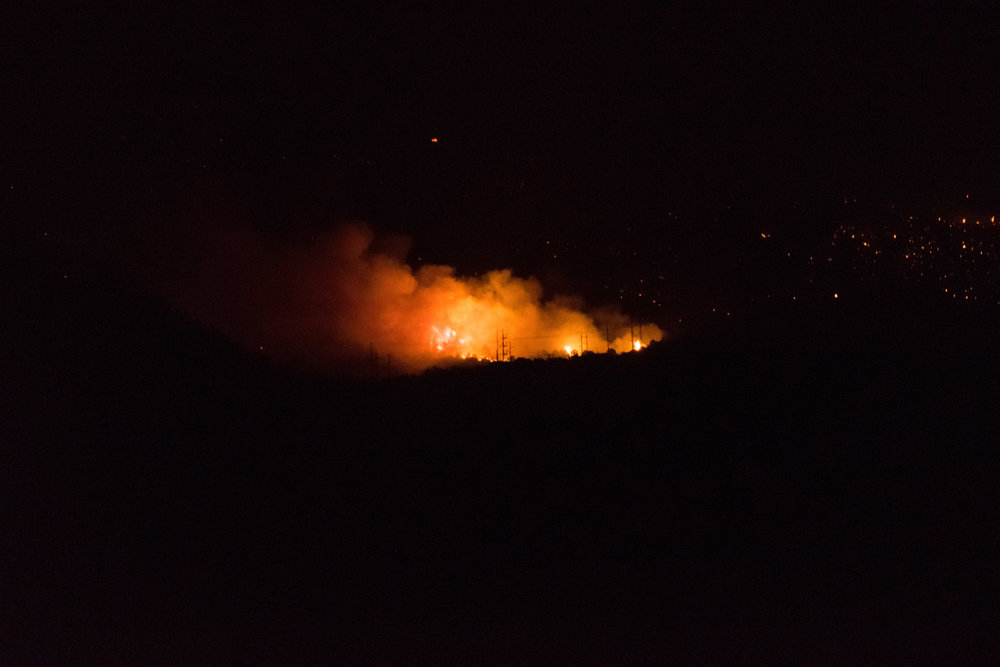 The Lake Christine Fire as it burns towards the El Jebel neighborhood on the night of July 4th.