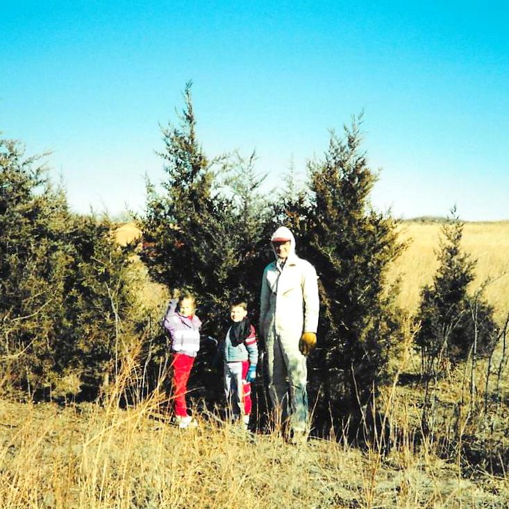 Picking our our Charlie Brown Christmas tree from the pasture in the Sandhills