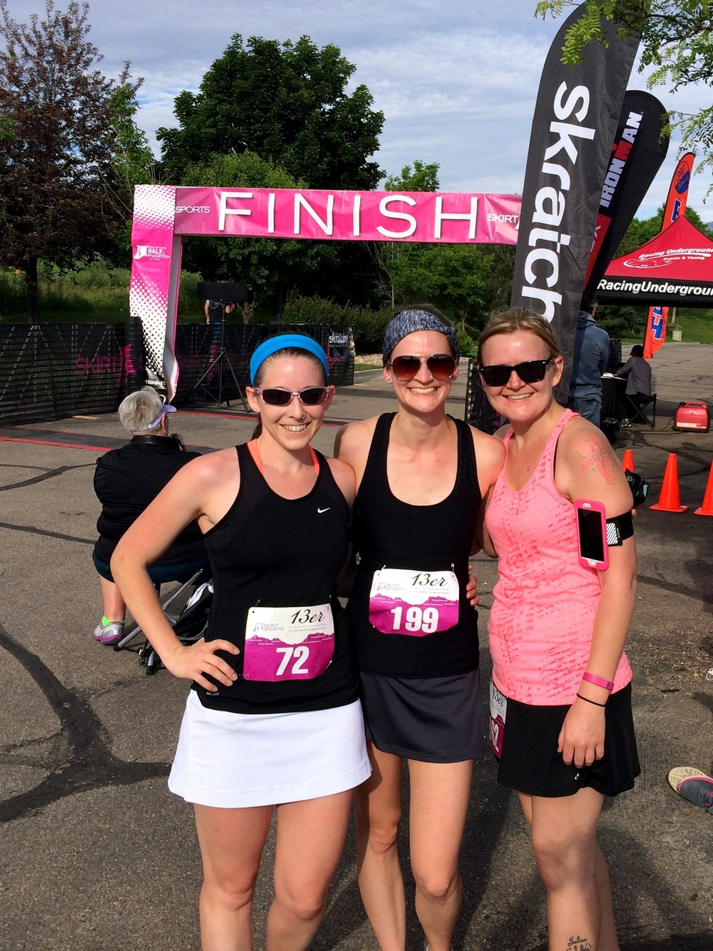A picture from my longest run yet! Excited to run my first half with these beautiful ladies:Paige, me, and Melanie at the Skirt Sports 10k last summer.