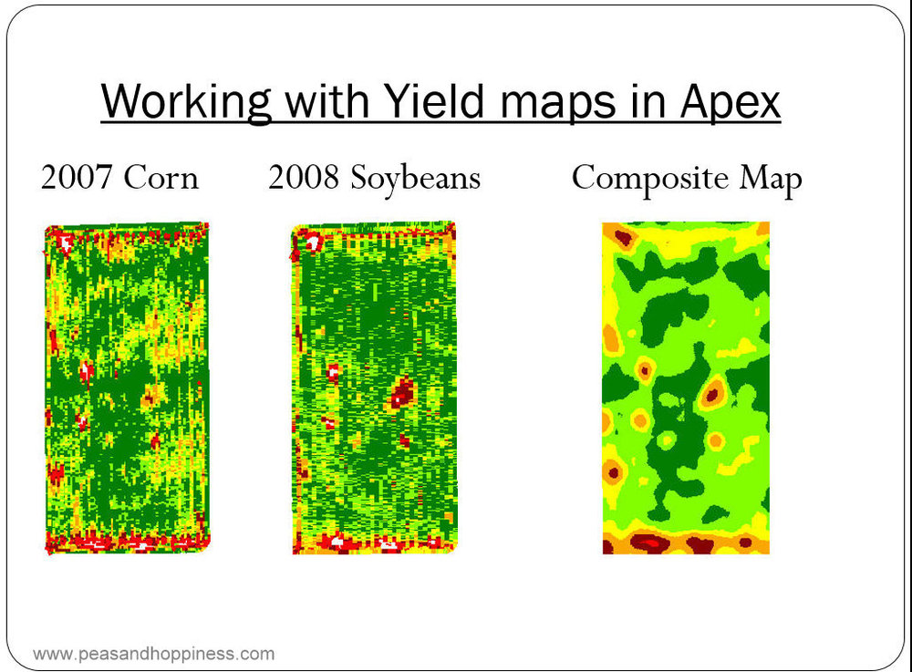 An excerpt from one of Dad's presentation, in which he presents GPS yield map data (different colors represent different yields in 25-foot squares) to identify which parts of the field are more productive.