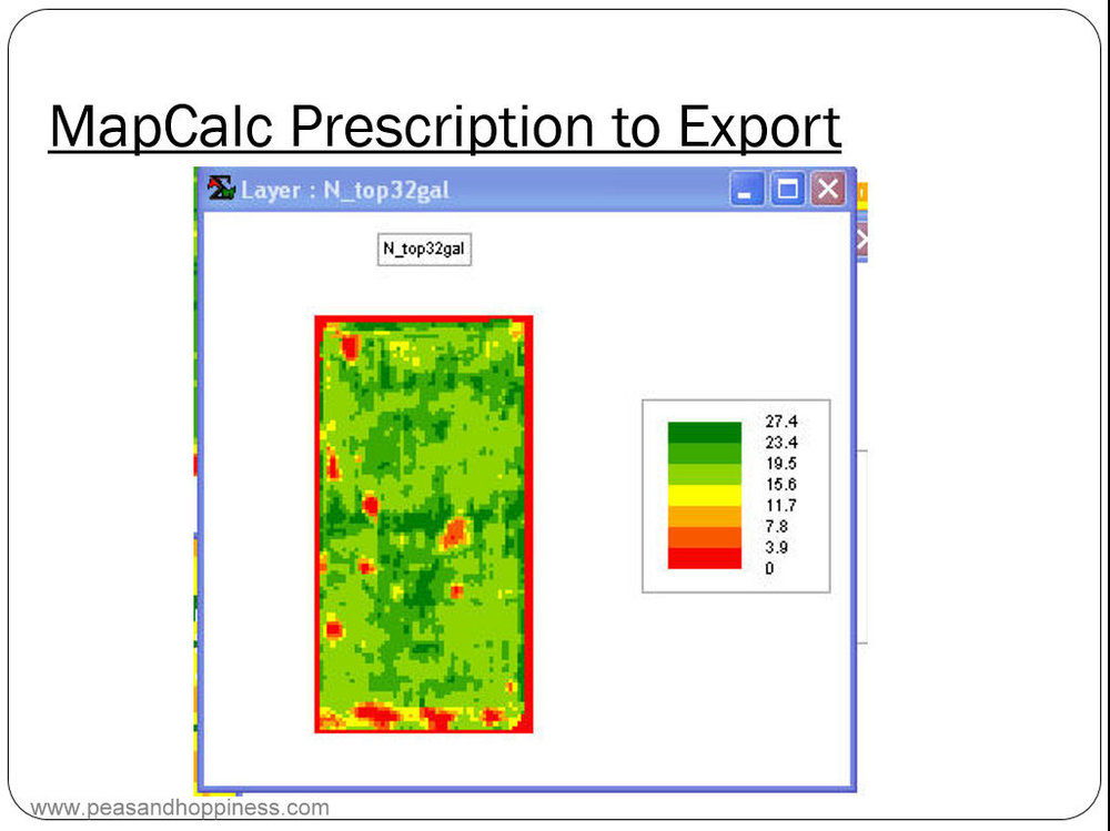 Yield map data is used to determine the right amount of fertilizer to apply in different parts of the field. Different rates are applied to reduce runoff and increase yield.
