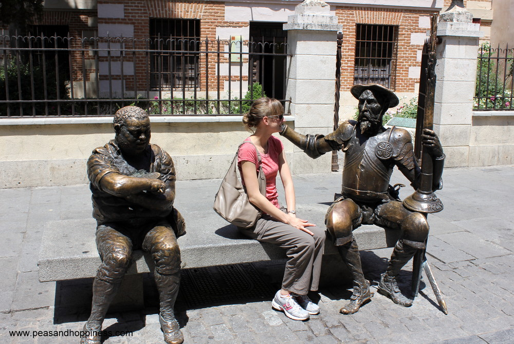 Hanging with Sancho Panza and Don Quixote in front of the childhood home of Cervantes on a trip back to Alcalá in 2010