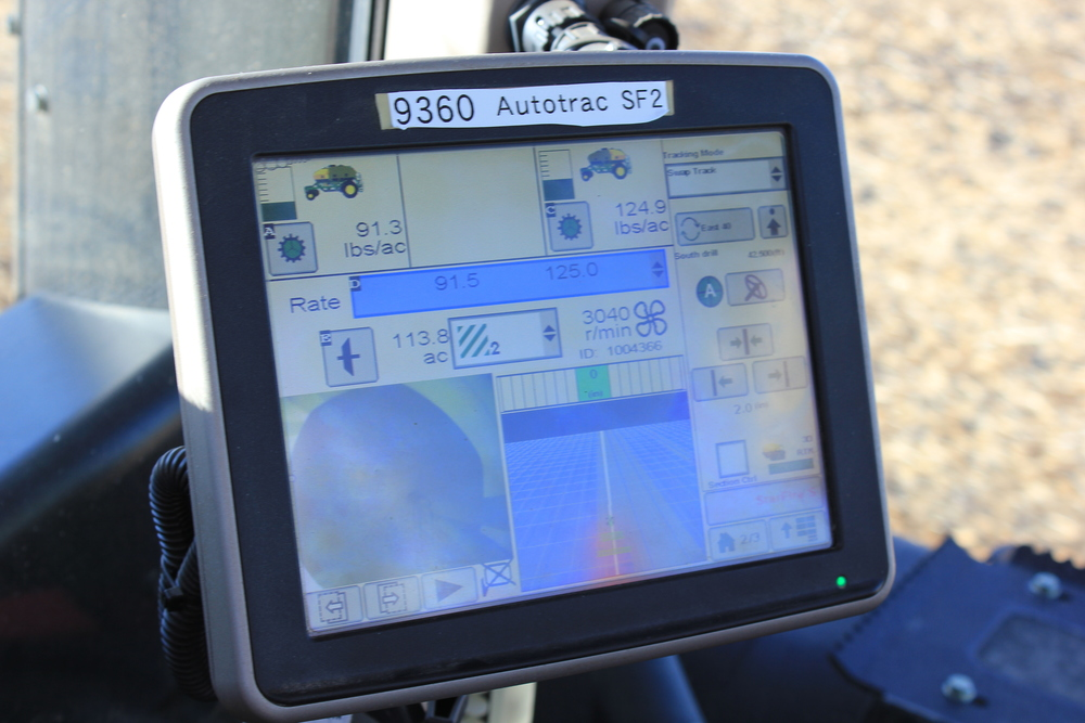 The screen of the GPS unit that shows how seeds are planted and nitrogen is applied at variable rates based on the previous year's yield data