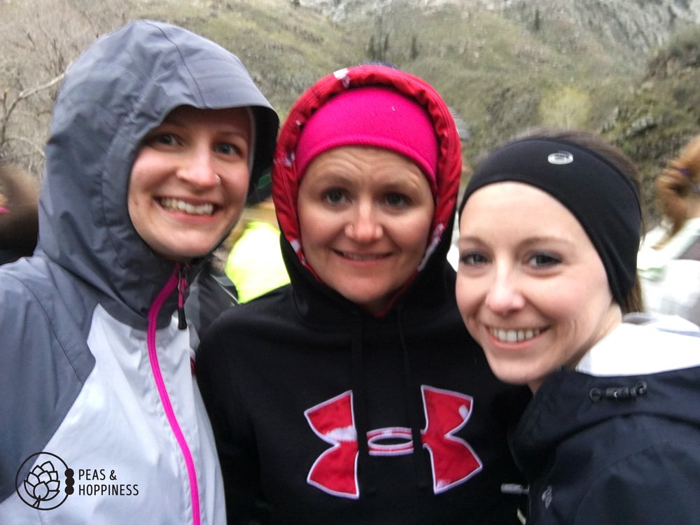 Blurry, but beautiful! Me with Melaney and Paige before the start of the race