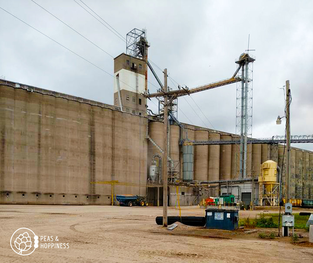 A grain elevator, where grain is taken and stored, then loaded into trains and trucks and shipped across the nation.
