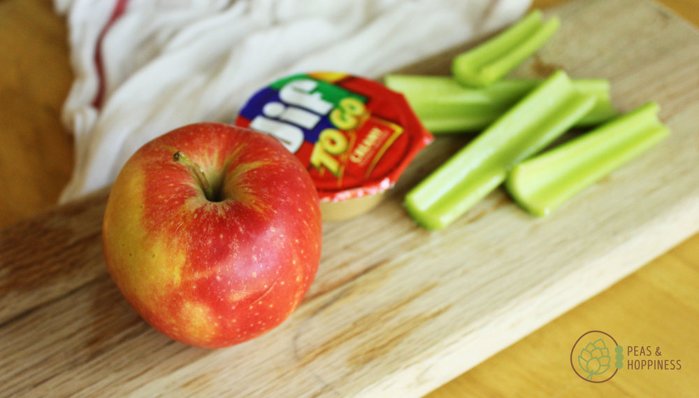 Lunch idea: peanut butter + apple + celery