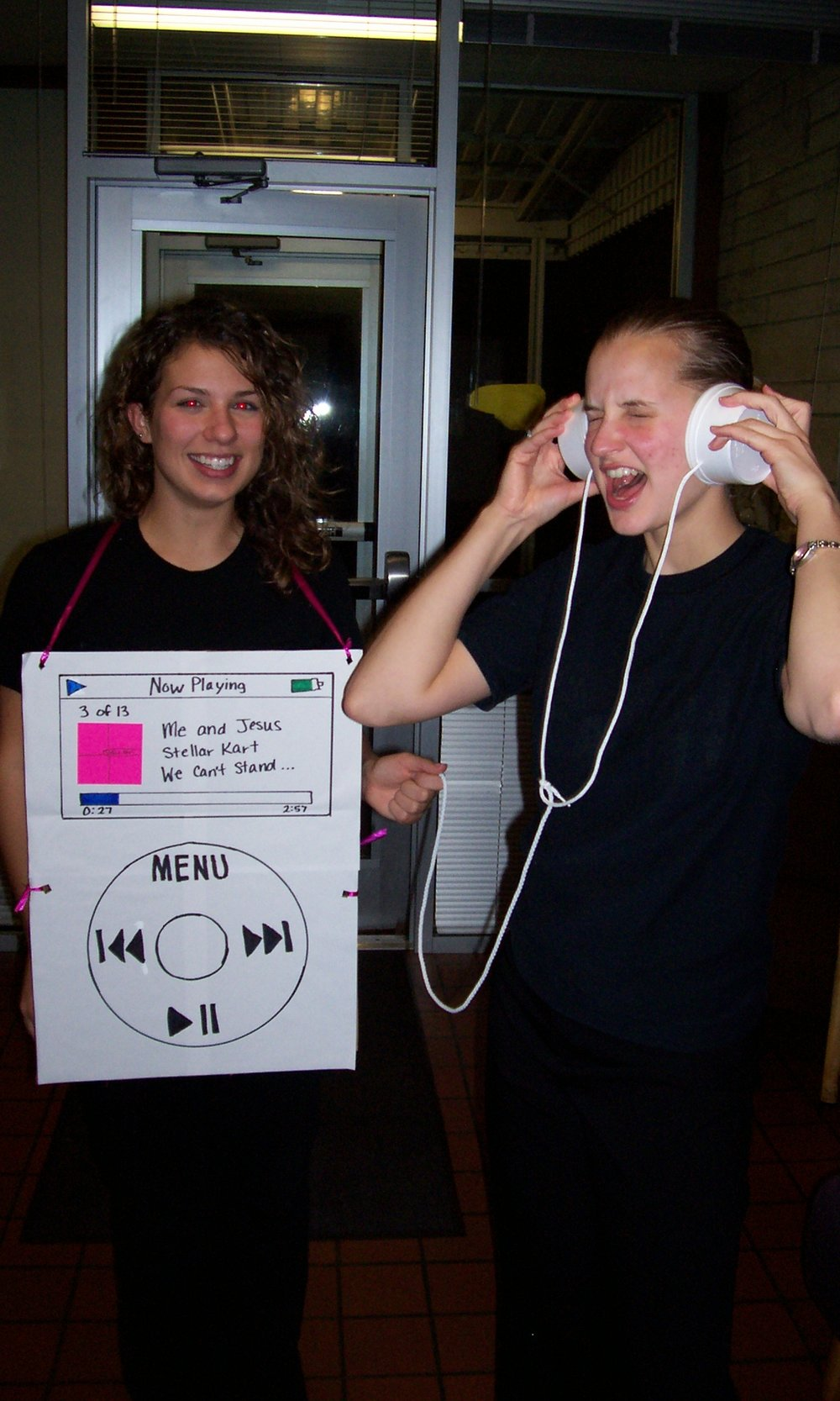 Lauren as an iPod and me tagging along as her listener