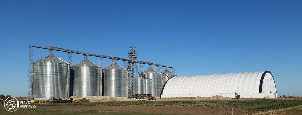 The permanent metal grain storage bins are full, so the the enormous white structure in the foreground was erected for temporary storage this season. See those teeny-tiny back-hoes in front of the building? To give you perspective, those are actually 10-foot-tall pieces of equipment. The tower in the picture is approximately 150 feet tall.