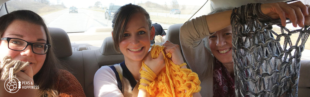 This year I learned to arm knit in the back of a car, taught my brother's amazing girlfriend.