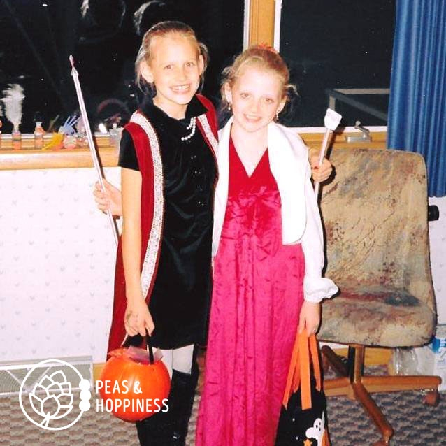 Young Ann with one of the real next generation of American farmers, Janna. Although we're dressed as movie stars for Halloween in this photo, she and her husband now farm in Central Kansas.
