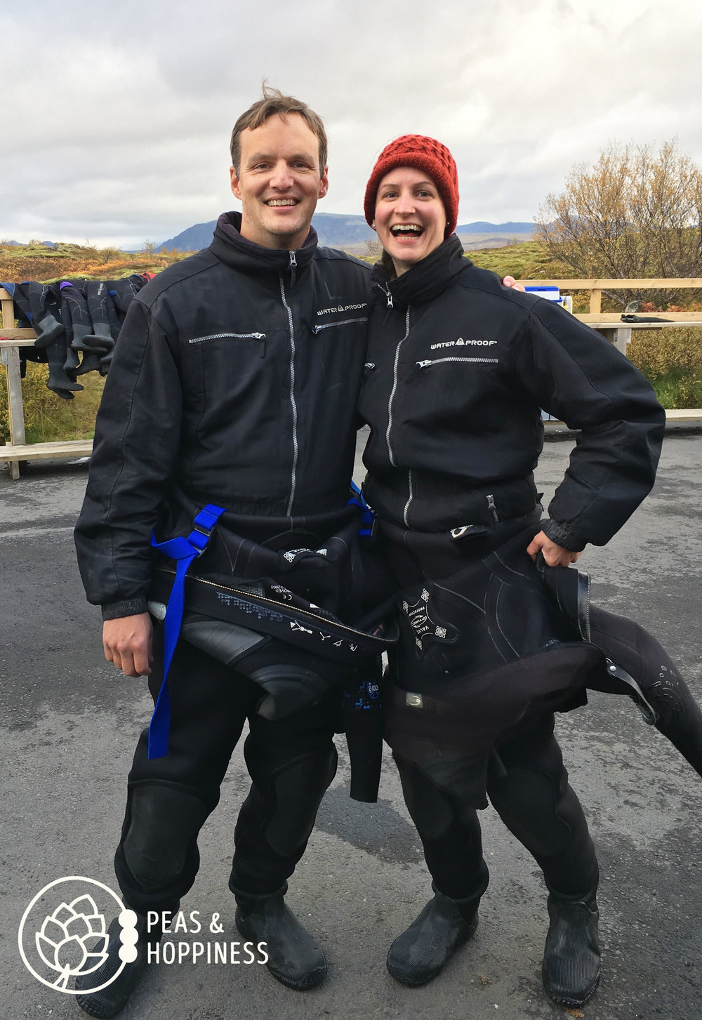Pat and I gearing up for our snorkel adventure in the  Silfra Fissure  - in near-freezing glacier water between the Asian and American tectonic plate. Very expensive, but very worth it!