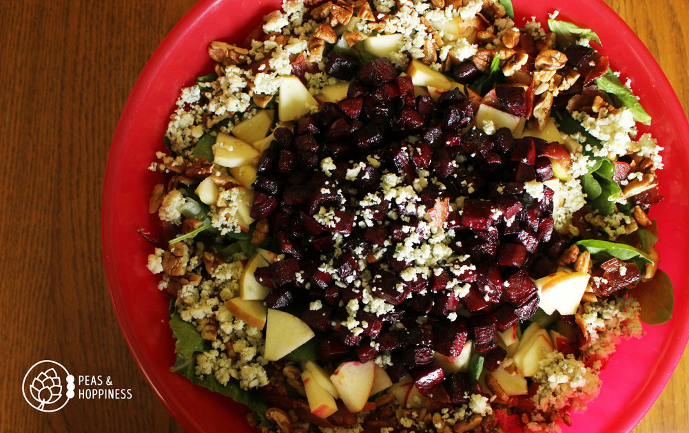 Add a little sweet to your keto diet with roasted beets and (a few) apples. Sub Splenda or stevia for sugar in this recipe for  Red, White, and Blue Cheese Salad