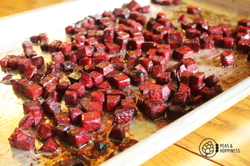 Roasting beets for this  Red, White, and Blue Cheese Salad  brings out their natural sweetness!