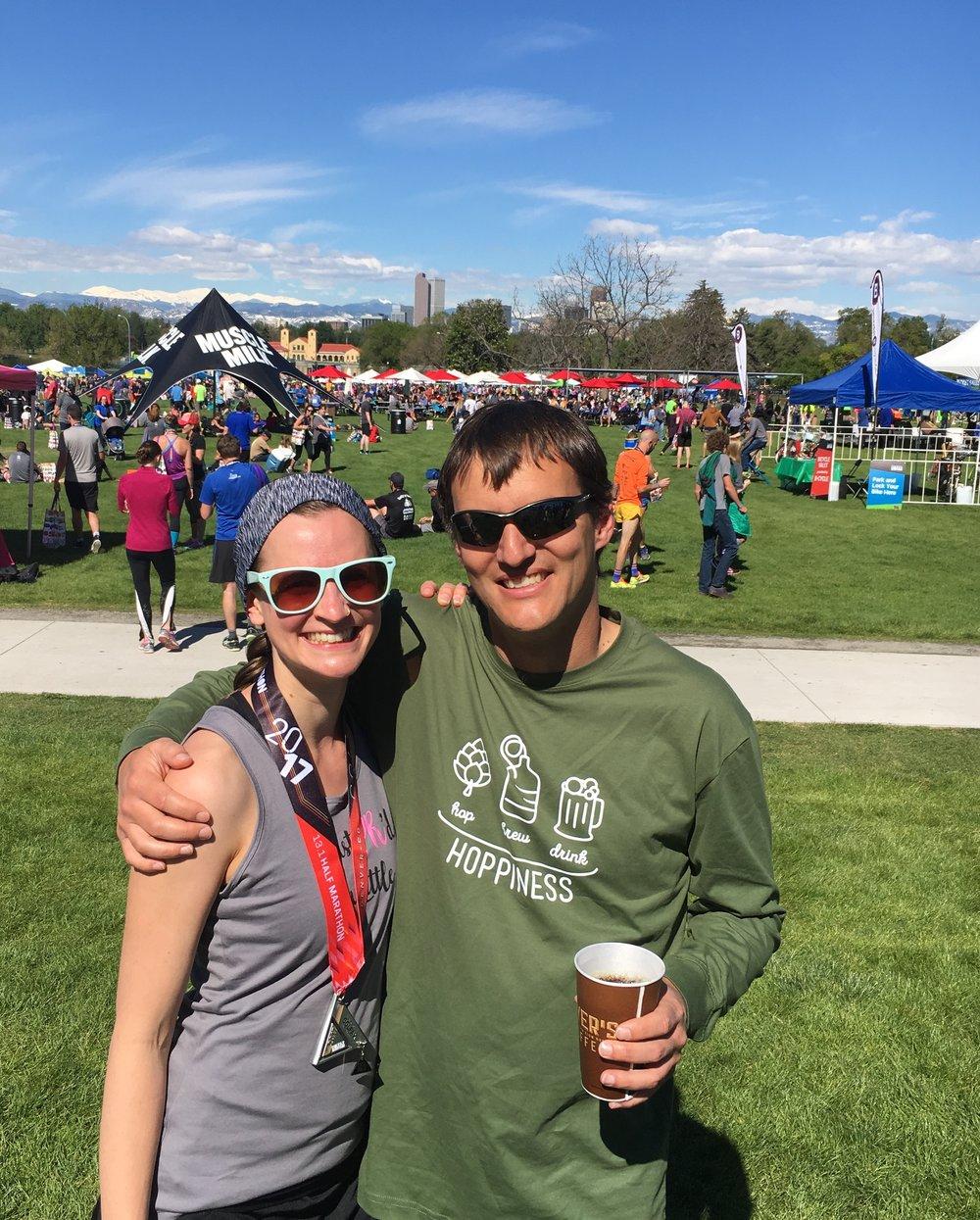 Ann & her cheerleader at the Colfax Half Marathon, May 2017