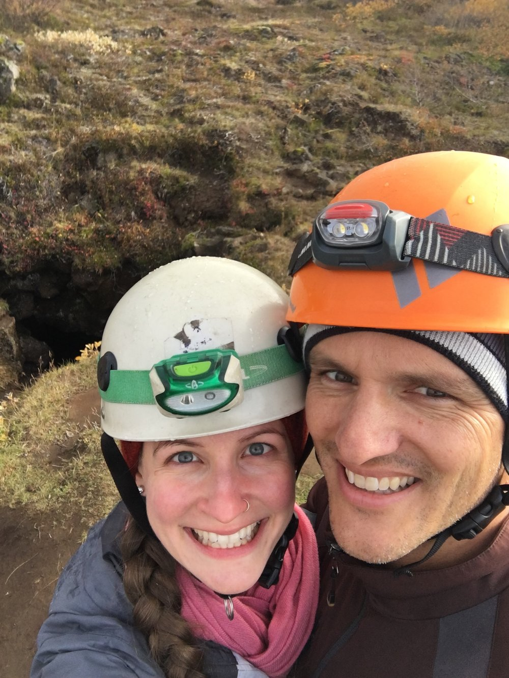 Exploring a lava cave in Iceland, October 2017