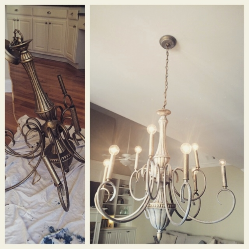Pretending to chalk paint a chandelier the birchwood blog mozeypictures Image collections