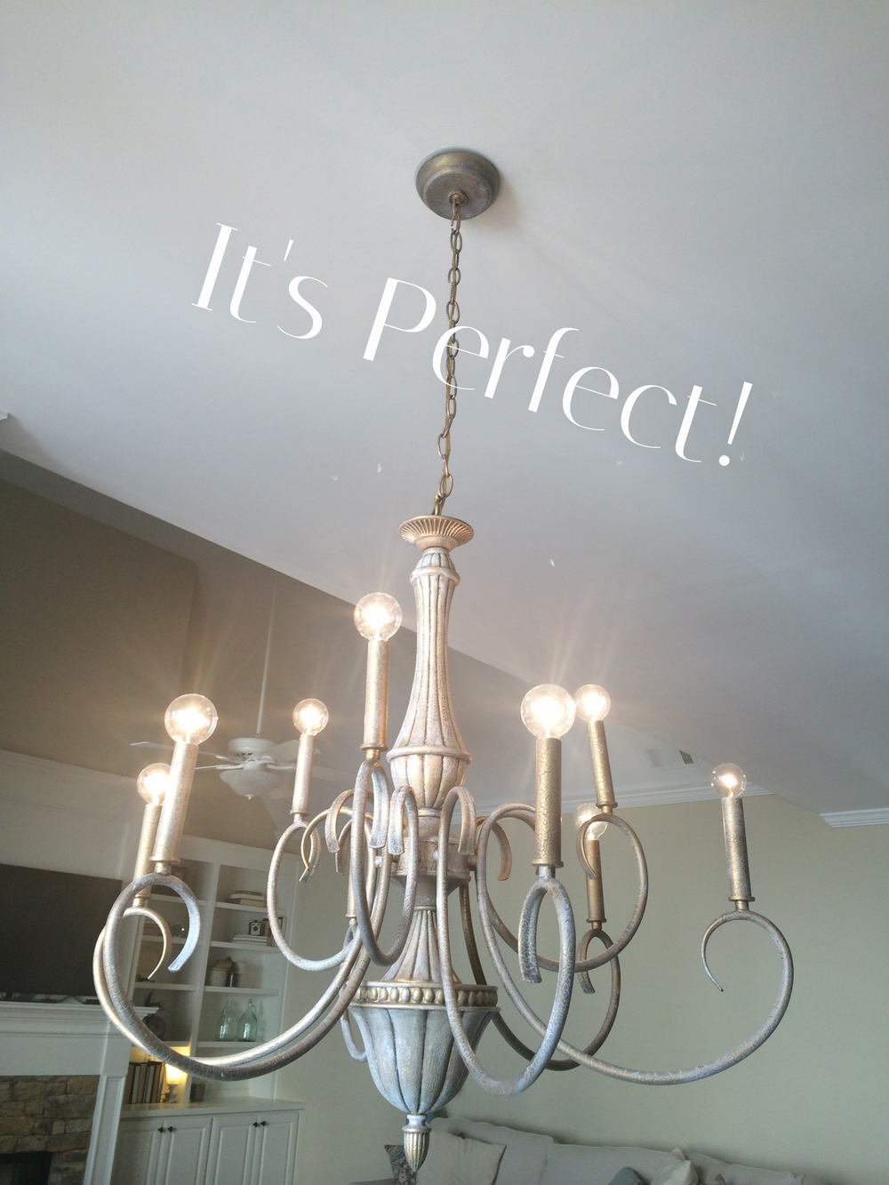 Pretending to chalk paint a chandelier the birchwood blog whaaa laa i knew she could be amazing enjoy the new light mozeypictures Image collections
