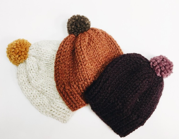 Hand Knit Beanies - For the friend that's always cold - a super cozy & warm knit beanie from local maker Kneedles & Leaves Knitwear. (We have knit headbands & scarves too!)