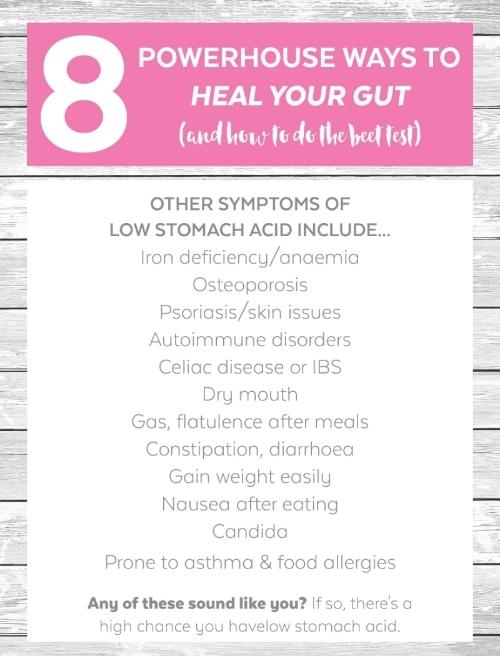 Symptoms of low stomach acid