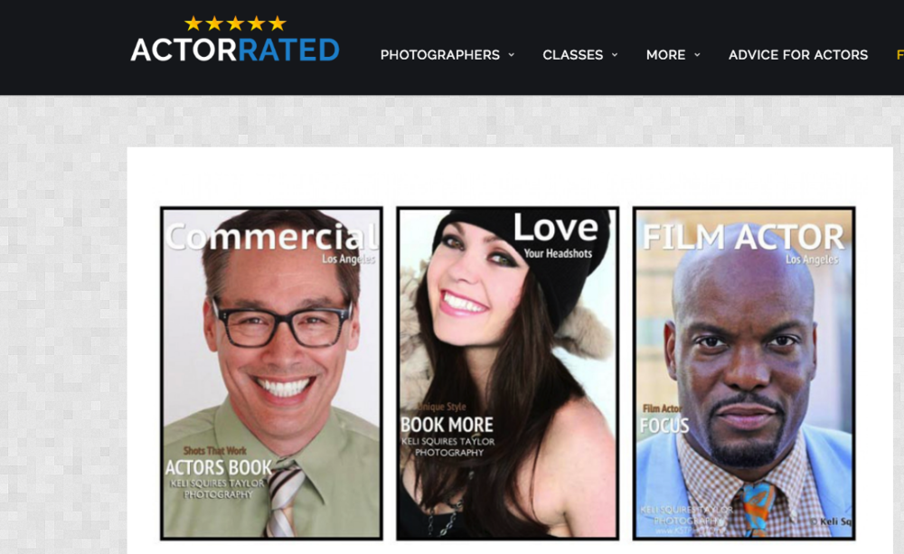 Over 200 Client reviews on ActorRated.com -