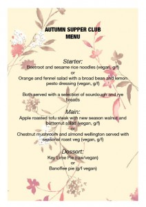 Autumn Supper Club Menu