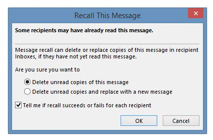 Recall or Replace an email in Outlook
