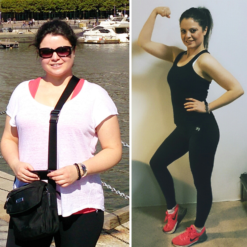 Holly, left: before and right: 17kgs later.