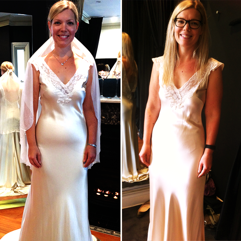 """Left: Kathy was about to cancel her wedding dress order. Right: 2 months later, """"I couldn't believe the difference!"""""""