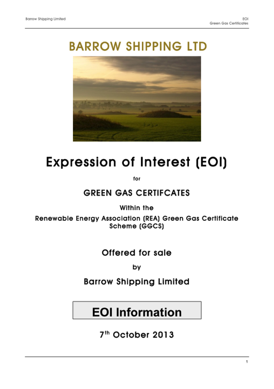 Expression of Interest — Barrow Green Gas