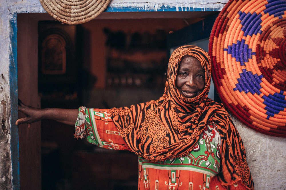 Nubian woman outside her home.