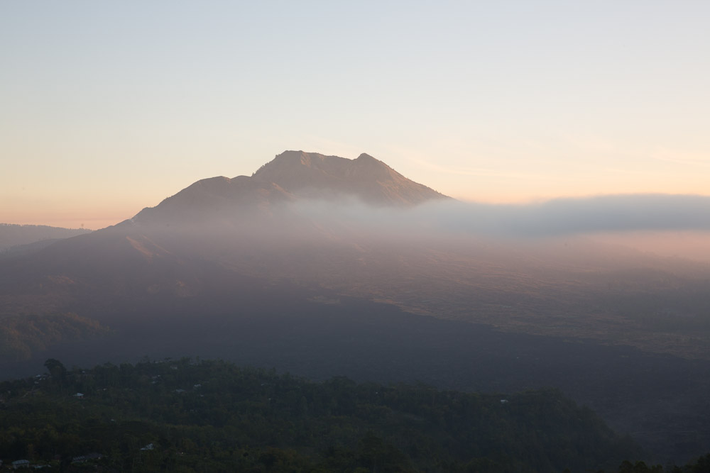 Mount Batur at sunrise.