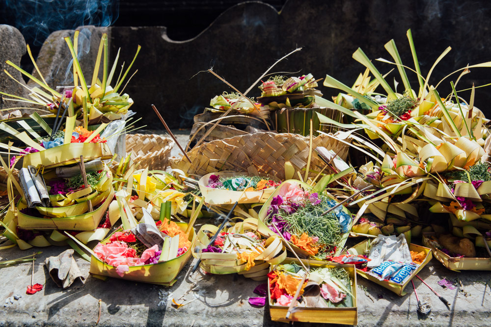 Offerings left in and around the temple.