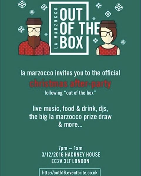 The official Christmas after-party for La Marzocco UK Out of the Box!! Invitation is open to all you just get registered! Live Band. DJs. Street food. Beer. Prize draw and more.... Ain't no party like a La Marzocco party. Registration closes today so don't miss out! Register now - https://www.eventbrite.co.uk/e/out-of-the-box-2016-tickets-27675104984 #lamarzocco #lamarzoccouk #outofthebox #ootb16 #christmasparty #coffeecommunity