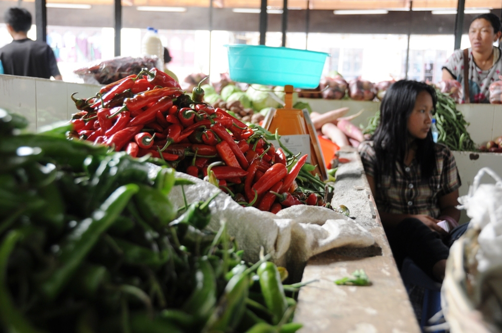 Chillies in Thimphu market