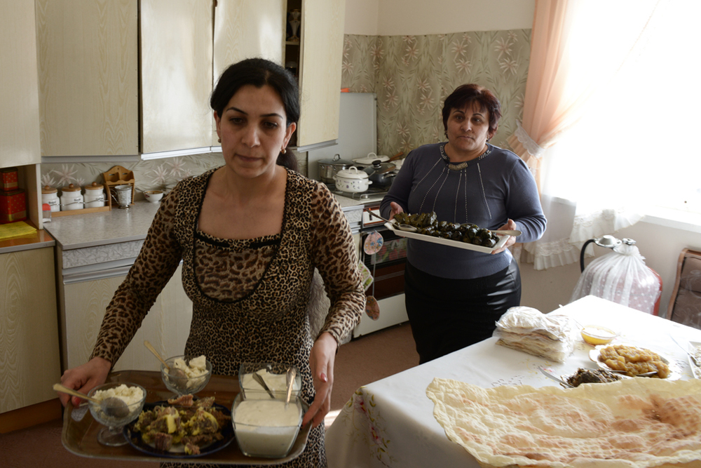 An Armenian family preparing lunch