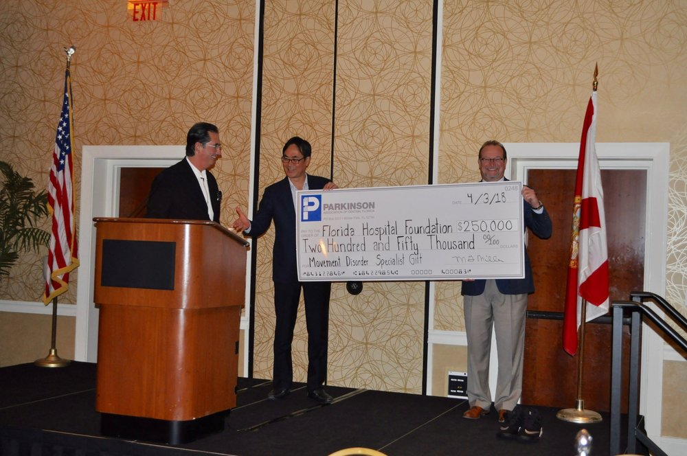 Pictured from left to right: John Gabriel, former General Manager with the Orlando Magic and PACF Board Member; Dr. Kihyeong Lee and David Collis, president at Florida Hospital Foundation.