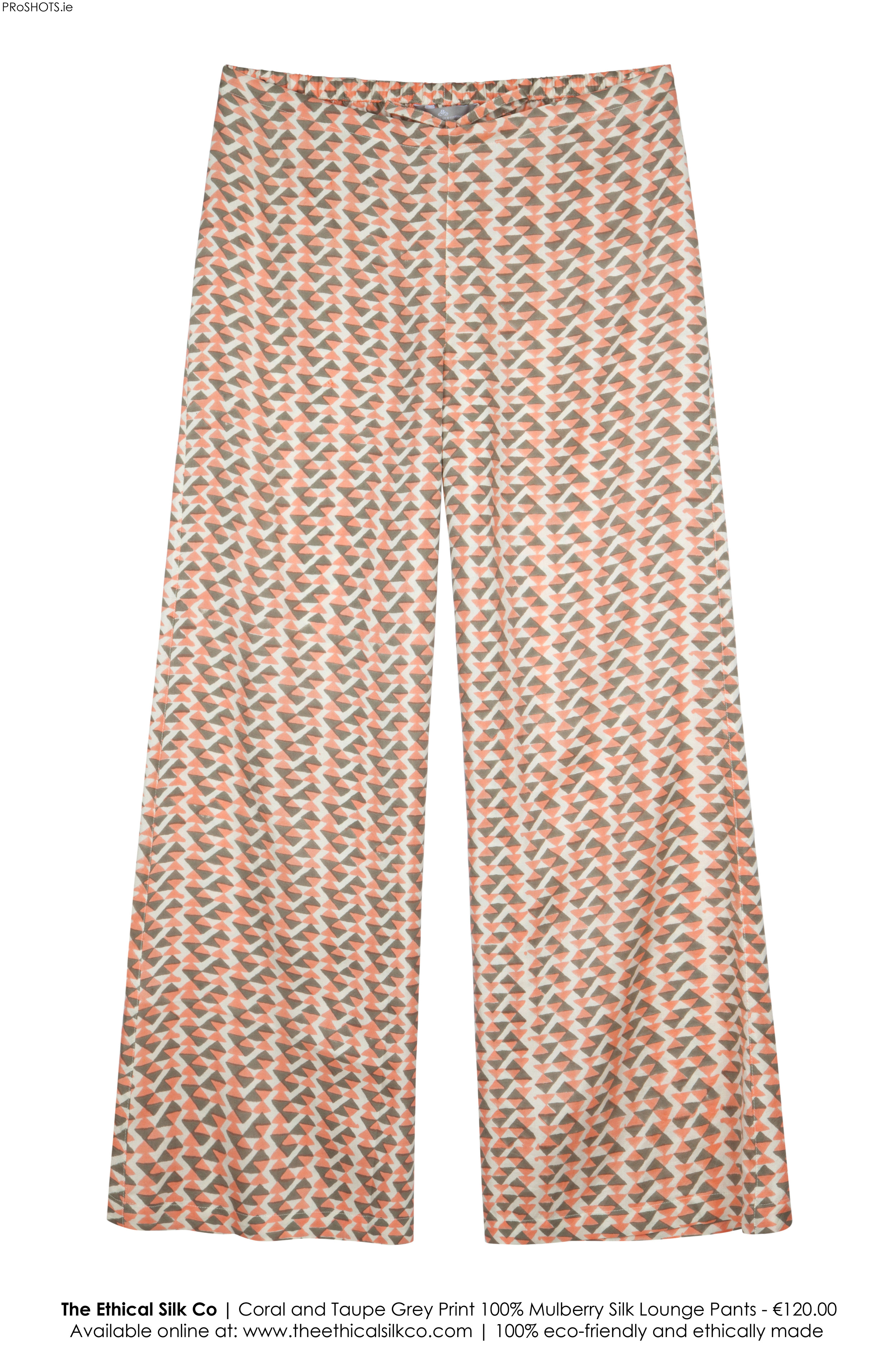 027e28da92 Mulberry Silk Lounge Pants - Coral/Grey — The Ethical Silk Company