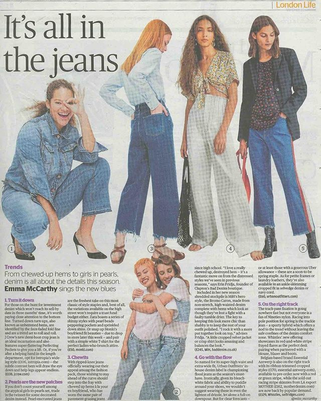 Last week, Erin cropped up in the Evening Standard to tell Emma McCarthy all about the chewed-hem trend. Can you spot the gorgeous MiH Caron jean? 💙 #baddenimbadwomen