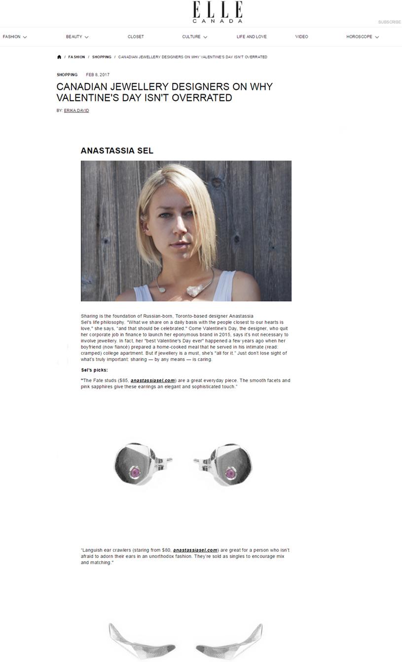 Elle Canada - Anastassia Sel Jewelry