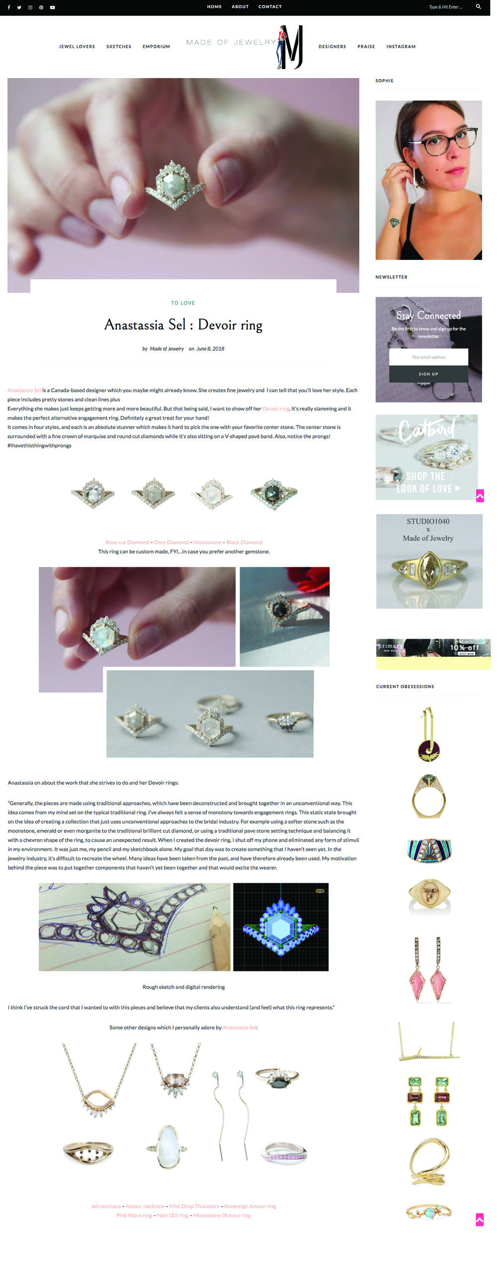 Made of Jewelry Blog - Anastassia Sel Jewelry