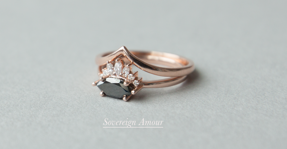 Anastassia Sel Jewelry - Unique Engagement Ring - Black Diamond Engagement Ring