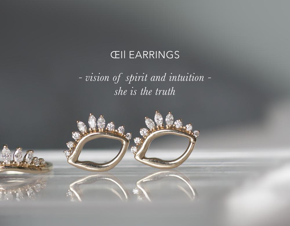 Evil Eye Earrings - Diamond Gold Studs - Anastassia Sel Jewelry