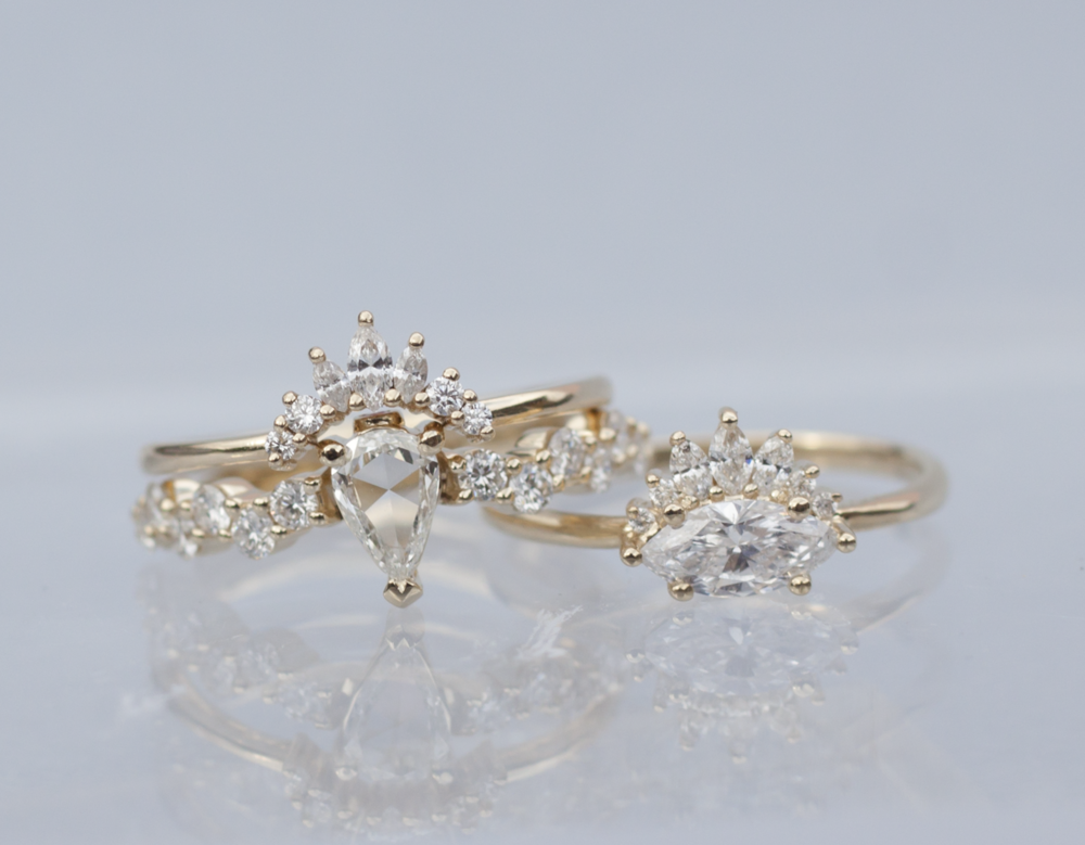 Diamond Crown Engagement Ring - Marquise Diamond Ring - Anastassia Sel Jewelry