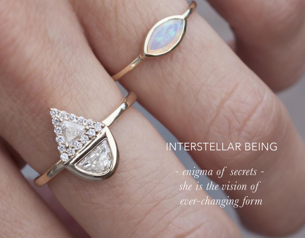 Trillion Diamond Ring Engagement Ring - Half Moon Diamond Ring - Anastassia Sel Jewelry